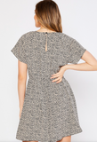 Taupe Animal Print Flare Sleeve Dress