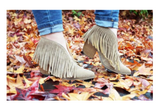 SALE Grey Fringe Bootie