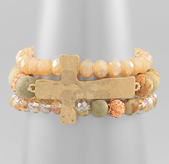 Hammered Cross Bracelet Set