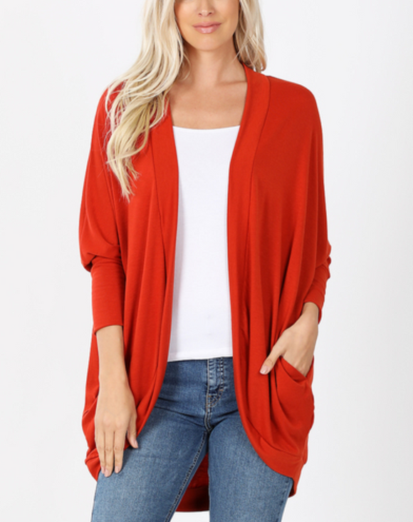3/4 Sleeve Cocoon Wrap Cardigan