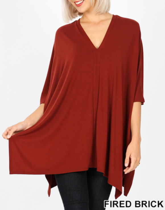 Brick V-Neck Poncho Top