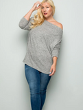 Plus Long Sleeve Off Shoulder Tunic Top