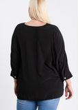 Plus V Neck Black Blouse