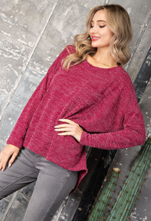 Wine Down Dolman Sweater w Pocket