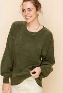 Olive Grove Balloon Sleeve Sweater