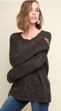 Distressed Dyed Crochet Kint Pullover Sweater