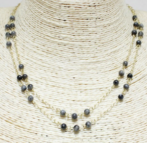 Grey Beaded Double Layer Necklace