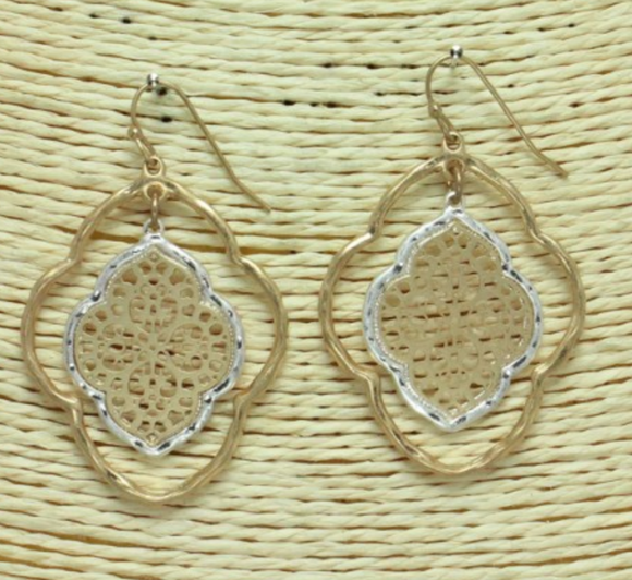 Worn Metal Double Filigree Earrings