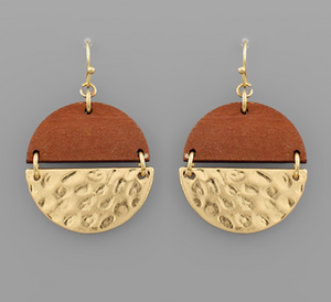 Half & Half Wood Warn Gold Earrings