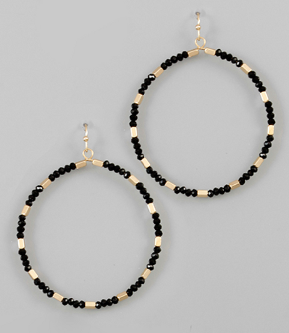 Diamond Cut Black Beaded Hoop Earrings