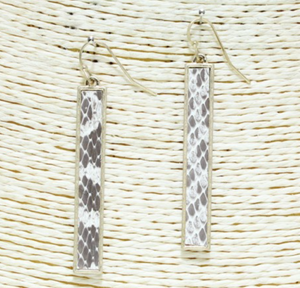 Snakeskin Bar Earrings