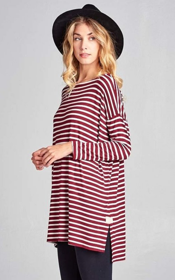 Burgundy & Ivory Striped Drop Shoulder Tunic Top
