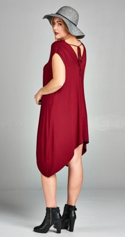 Burgundy Asymmetrical Hem Dress