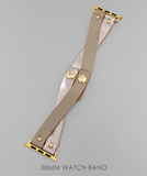 Metallic Faux Leather Apple Watch Bands