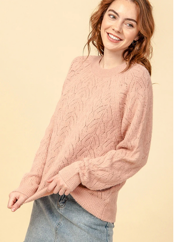 The Isabella Pointelle Long Sleeve Sweater