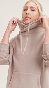 SALE Almond Brushed Cowl Neck Pullover