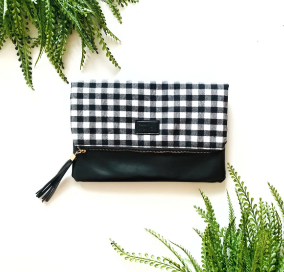 Black and White Buffalo Fold Over Clutch w Black Faux Leather