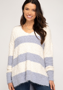 The Callie V Neck Striped Popcorn Sweater
