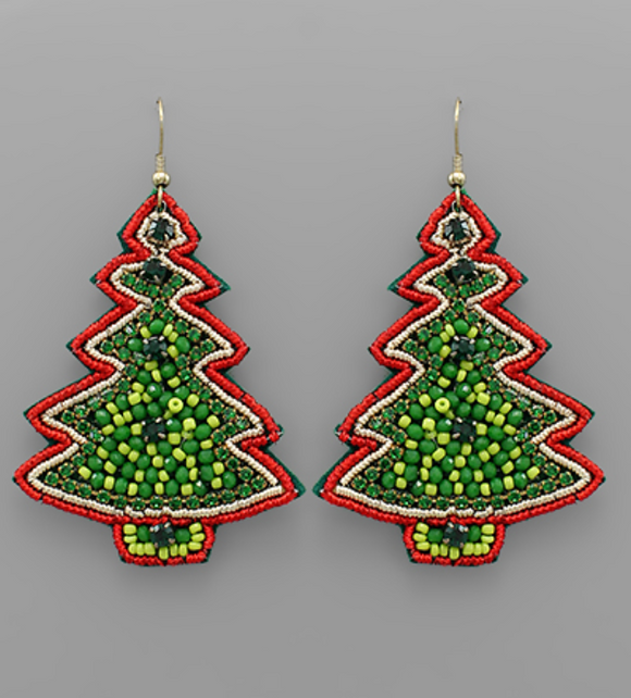 Decorative Beaded Christmas Tree Earrings