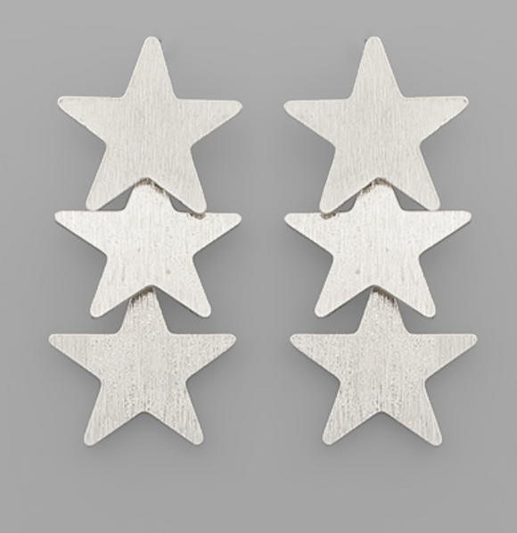 Matte Silver Triple Star Earrings