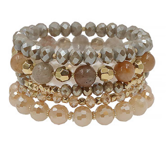 Taupe Beaded Bracelet Set