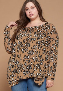 Leopard Long Sleeve Side Slit Top