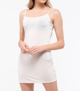 Ivory Long Line Knit Cami Slip