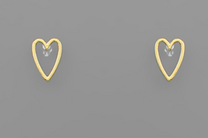 First Kiss Gold Heart Stud Earrings