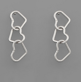 Dainty Triple Heart Linked Earrings