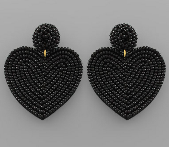 Medium Solid Beaded Heart Earrings