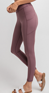 Dark Mauve Buttery Leggings with Pockets