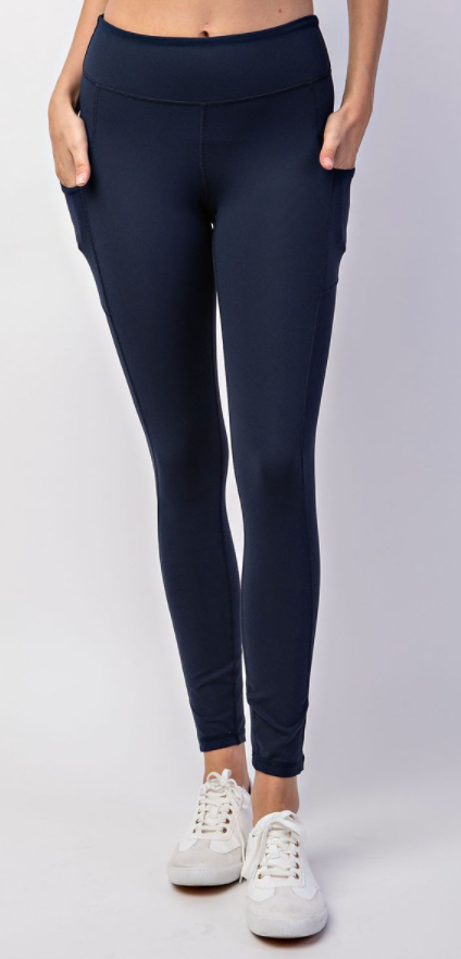 Navy Buttery Leggings with Pockets