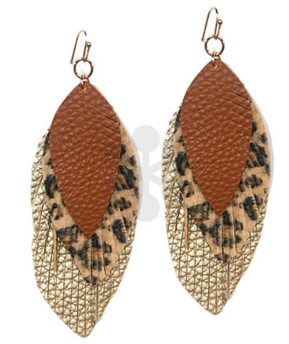 Layered Leopard Feather Earrings