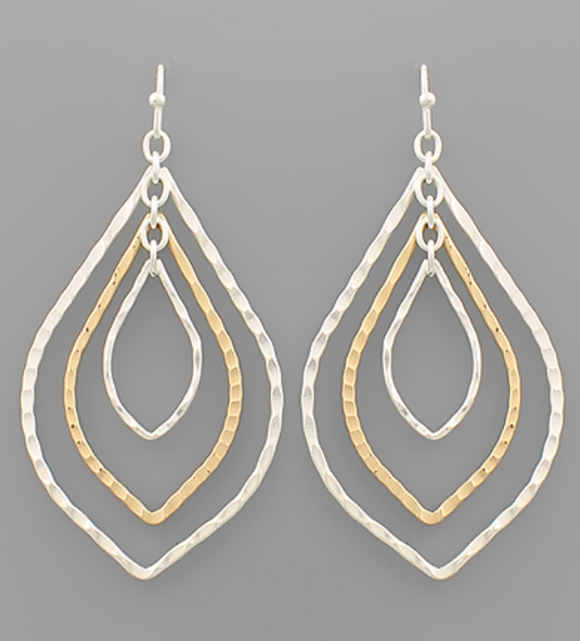Mixed Metal Layered Open Tear Earrings