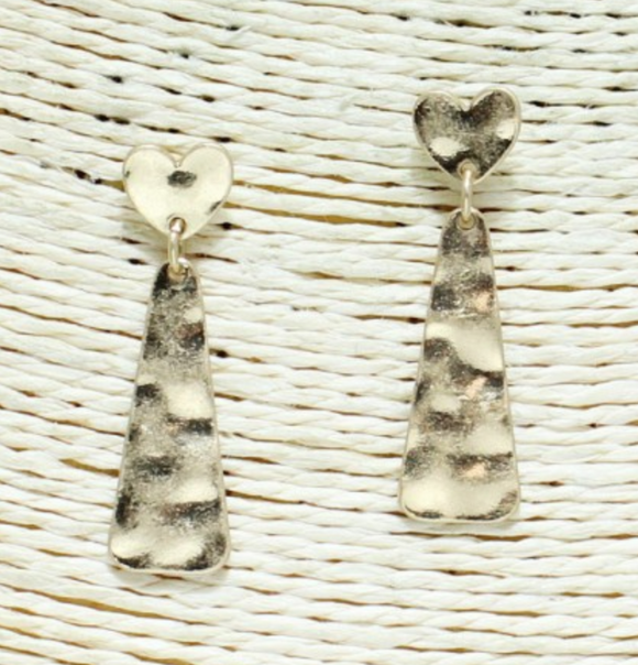 Hammered Heart Bar Earrings