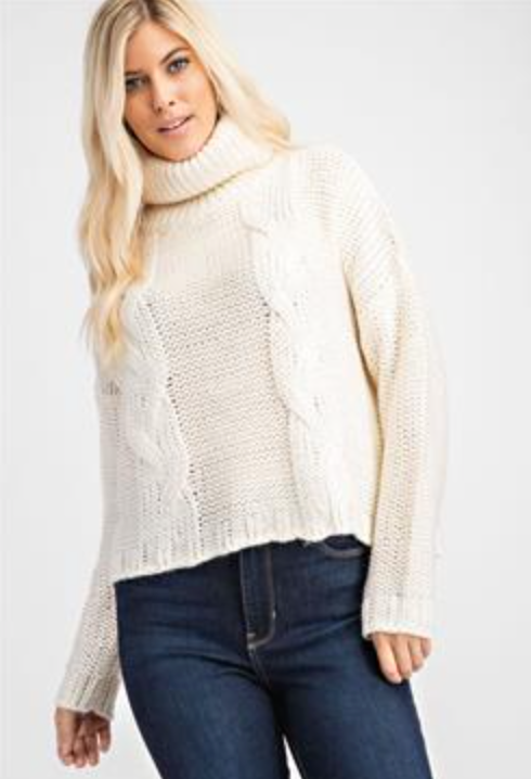 Chunky Ivory Turtleneck Sweater
