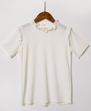 Girls Ivory Ruffle Collar Top