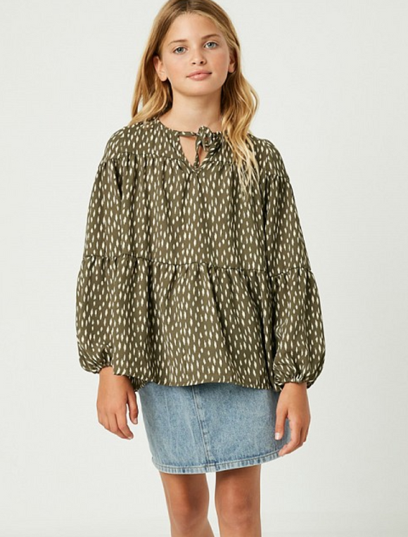 Girls Olive Front Tie Bell Sleeve Top