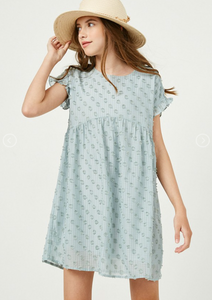 Girls Aqua Swiss Dot Tunic Dress
