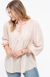 Plus Keyhole Smocked Cuff Blouse in Taupe