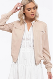 Lightweight Taupe Woven Jacket