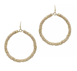Wood with Gold Beaded Hoop