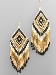 Black & Gold Fringe Beaded Earrings
