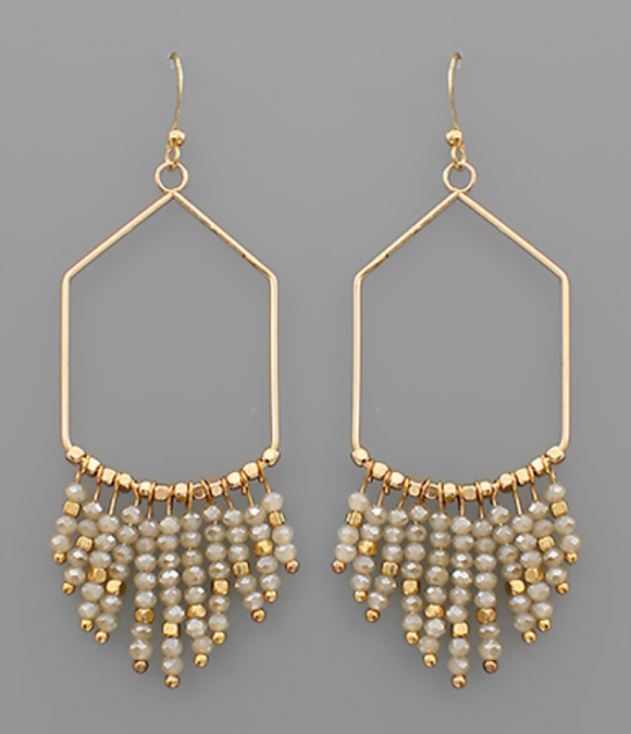 Geometric Chandelier Beaded Earrings
