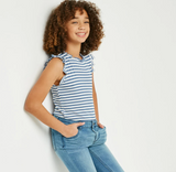 Girls Ruffle Neck Striped Tank