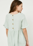 Girls Ruffle Sleeve Button Back Peplum Top