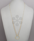 Beaded Gold Circle Hammered Necklace
