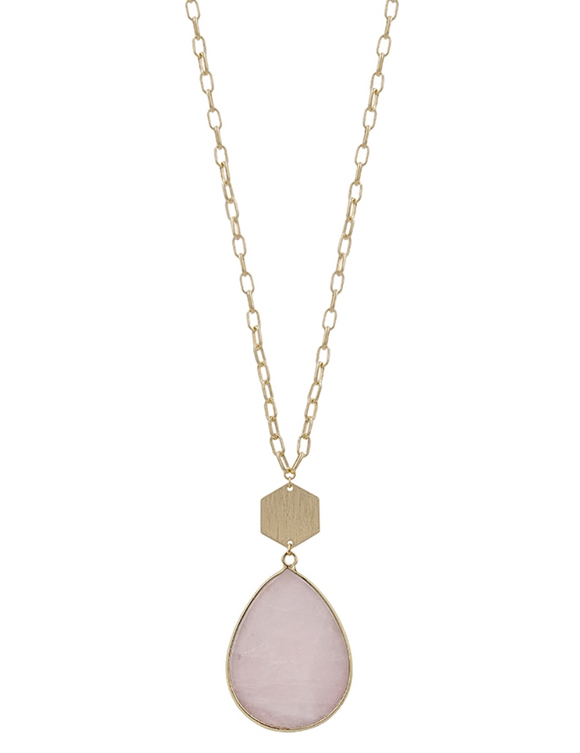 Pink Natural Stone Teardrop and Gold Necklace