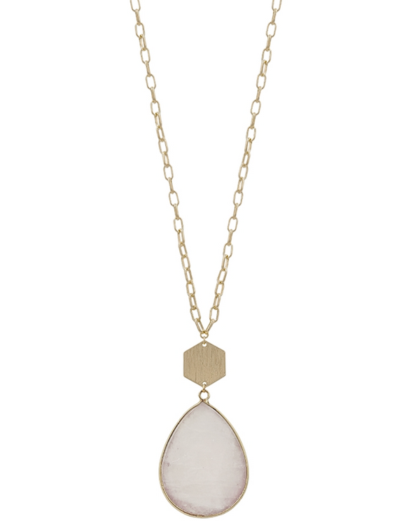 Clear Natural Stone Teardrop and Gold Necklace