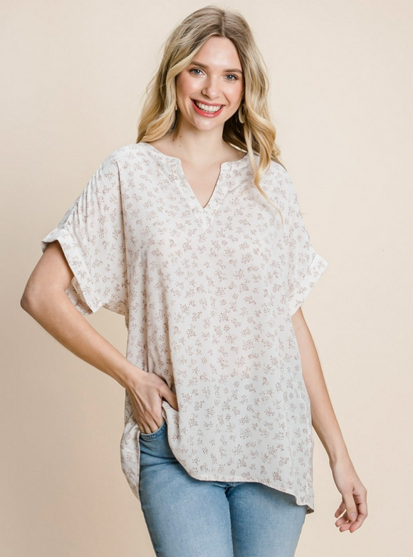 Lily Floral Print Drop Shoulder Top